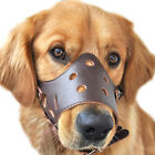 CATKING Genuine Leather Adjustable Mesh Soft Cozy Cage Muzzle for Dog 5 Size