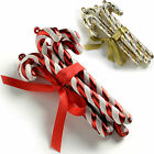 Candy Cane Baubles Christmas Tree Decorations Glitter Gold/Silver Red/White