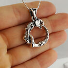 Arched Mermaid Necklace - 925 Sterling Silver - Detailed Pendant Fairy Tale SN