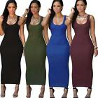 Women Summer Sleeveless Dress Bandage Bodycon Party Cocktail Maxi Long Dress US