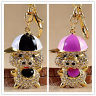 For Car Key Chain Keychain Piggy Crystal Key Pendant Opals Enamel 1Pcs