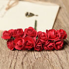 12pcs Mini Artificial Paper Rose Bud Flower Wedding Card Decoration New