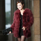 Luxury Lady Women Real Ostrich Feather Fur Coat Jacket Outwear Warm Winter 2017