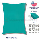 Sun Shade Sail Turquoise Rectangle UV Block Outdoor Canopy Awning Cover W/8''Kit