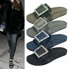 Womens Satin Slide Slipper with Square Crystal Buckle US 5 6 7 8