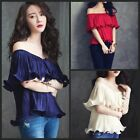 D17 Pleated Ruffle Flouncy Off The Shoulder Versatile Top Blouse