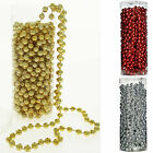 Plastic Shiny Bead Garland Chain Christmas Tree Decoration 7.2 m Gold Silver Red