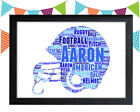 PERSONALISED American Football Ball Word Art Wall Print Gift Idea Team Sports