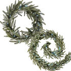 Frosted Pre-Lit Fir Wreath Garland Illuminated White LED Christmas Decoration