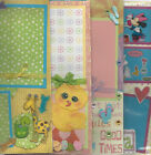 U CHOOSE  Assorted 1 PAGE PREMADE SCRAPBOOK LAYOUTS Easter Girl Boy Ski Zoo Baby