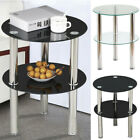 Black or Clear Glass Round Side Table 2 Tier Coffee Or Lamp Table