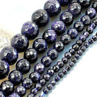 "Wholesale Natural Blue Goldstone Faceted Round Beads 15"" 3mm 4mm 6mm 8mm 10mm"