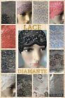 LADIES DIAMANTE LACE NET  HIJAB UNDERSCARF HEADBAND WIDE LACE NEW DESIGNS