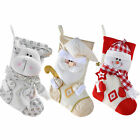 48 cm Christmas Stocking with 3D Snowman Head Decoration Red/White Silver Gold