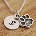925 Sterling Silver Personalised Paw Print Charm Pendant Necklace & Initial Tag