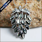 Natural Pearl SeaShell Necklace Pendant Carved Grape Vintage Jewelry Making BK04