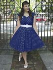 PLUS SIZE NAVY BLUE PolkaDot Soubrette Brunette 50s Style Sweetheart Pinup Dress