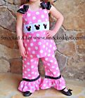 Smocked A Lot girls Minnie Mouse Disney Pants Set Bows Polka Dot Pink Birthday