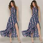 Women Floral Long Sleeve Boho Dress Ladies Evening Party Long Maxi Dress G5X5