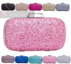 NEW LADIES GLITTER SHIMMER HARD COMPACT GOLD SILVER TRIM CHAIN PROM CLUTCH BAG