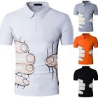 Fashion Men's Slim 3D Big Hand Print Short Sleeve T-shirts Casual POLO Shirts