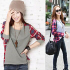 Casual  Women O-neck Long Sleeve Patchwork T-Shirt Solid Loose Shirt Blouse