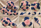 WEDDING FLOWERS WEDDING BOUQUET ROYAL BLUE AND PINK POSY WAND BUTTONHOLE CORSAGE
