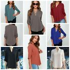 Women's Lady Loose Long Sleeve V Neck Casual Blouse Shirt Tops Fashion Blouse
