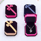 Flocking Octagonal Bow Velvet Ring Jewelry Organizer Gift Box CASE Wedding hot