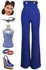 50s Style ROYAL BLUE High-Rise Wide-Leg Sailor Pants with NAUTICAL Button Detail