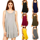 Women Bodycon Summer Casual Party Evening Cocktail Cotton Shift Swing Mini Dress