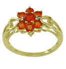 Woman Fashion Sterling Silver Fire Opal Fabulous Ring Engagement Event Jewelry