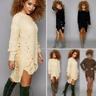 Womens Casual Long Sleeve Knitted Pullover Loose Sweater Jumper Tops N98B