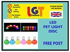 LED Disc Pet Dog Cat Collar Nite Night Light Safety Clip Flashing Neon Pendant!-