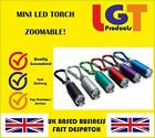 Mini LED Flashlight small camping Torch  Zoomable  key holder Hook carabiner -