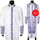 Cadillac Clergy Preacher Robe White/Purple Royalty Cross Embroidery Full Length