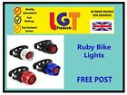 Ruby Bike Cycle Tail Rear Front Red White LED Lamp Flash Light Safety Warning!!-