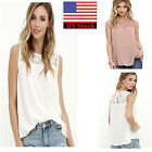 Summer Women Lace Sleeveless Chiffon T-shirt Casual Blouse Ladies Tops US STOCK