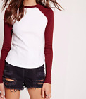 MISSGUIDED rib raglan top white with red sleeve (M13/23)
