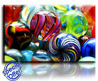 Wall Art Canvas Picture Print of Coloured Glass Marbles   Ready to Hang