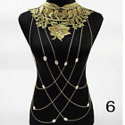Flower Gothic Shirt Collar Pendant Harness Necklace Body Chain Jewelry Lace