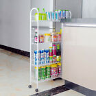 Slide Out Storage Tower 3/4-Tier Rolling Cart Kitchen Slim Rack W/ Wheels White