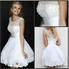 New White Beaded Bride Bridal Formal Wedding dress Party Eveing Dresses Gown