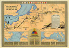 """Historic Military Map 2nd Armored Division """"Hell on wheels"""" War against the Axis"""