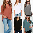 Women V-neck Tops Loose Long Sleeve T-Shirt Casual Blouse Chiffon Summer Shirts