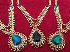golden retro big gem droplets vintage necklace blue gifts party occasion