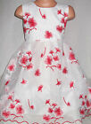 GIRLS RED EMBROIDERED ORIENTAL FLORAL BLOSSOM PATTERN PRINCESS PROM PARTY DRESS