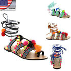 US Womens' Beach Flat Sandals Shoes Leg Wrap Tassel Pom-Pom Beads Decor Shoes