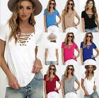 Ladies Women's Lace up V Neck Blouse Casual Short Sleeve Slim Tops T-Shirt Shirt