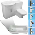 SHOWER BATH SUITE P SHAPE VANITY UNIT BASIN SINK BACK TO WALL TOILET TAPS NEW